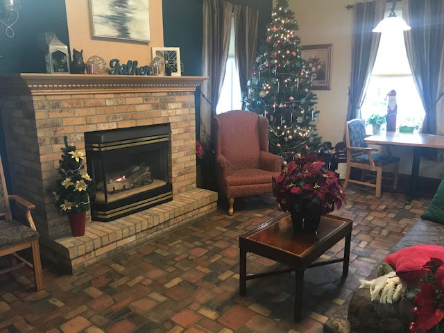 Wesley Residence fire place and Christmas tree